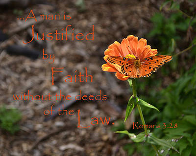 Christian Verse Photograph - Justified By Faith by Larry Bishop