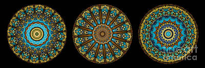 Mandala Photograph - Kaleidoscope Steampunk Series Triptych by Amy Cicconi