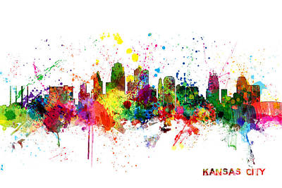 Silhouette Digital Art - Kansas City Skyline by Michael Tompsett