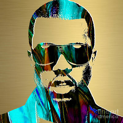 Musical Mixed Media - Kanye West Gold Series by Marvin Blaine