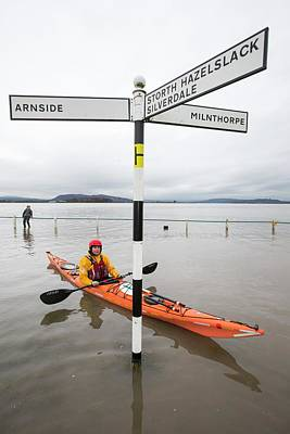 High Street Photograph - Kayakers In The Flood Waters by Ashley Cooper