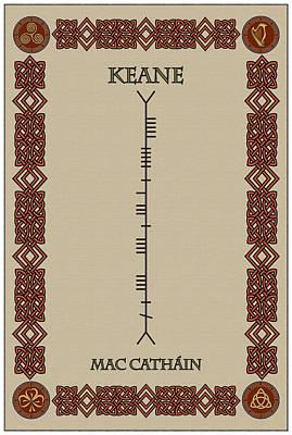 Keane Written In Ogham Print by Ireland Calling