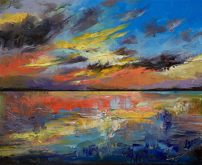 Contemporary Beach Painting - Key West Florida Sunset by Michael Creese
