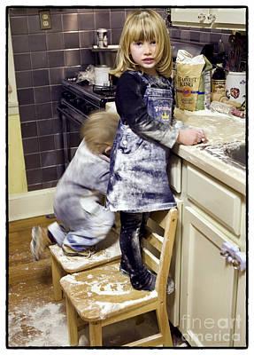 Mess Photograph - Kids Flour Fight  by Iris Richardson