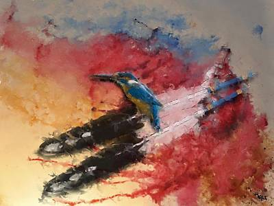 Kingfisher Digital Art - Kingfisher Power. by Roger D Hale