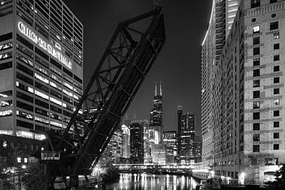 Riverfront Photograph - Kinzie Street Railroad Bridge At Night In Black And White by Sebastian Musial