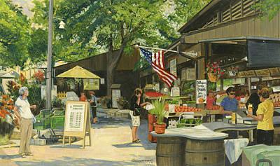 Neighborhoods Painting - Kirkwood Farmers Market American Flag by Don  Langeneckert