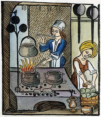 Cookbook Painting - Kitchen Scene, 1507 by Granger