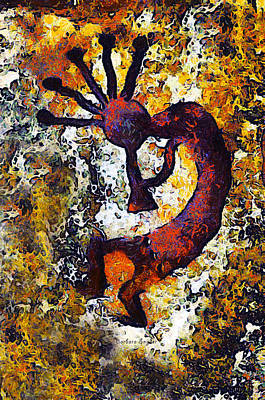 Enhance Digital Art - Kokopelli The Flute Player by Barbara Snyder
