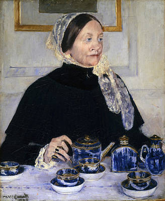 Old Objects Painting - Lady At The Tea Table by Celestial Images