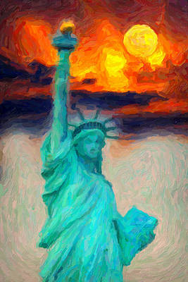 Clear Sky Painting - Lady Liberty by Celestial Images