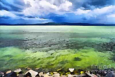 Water Filter Painting - Lake Balaton Hungary by Odon Czintos