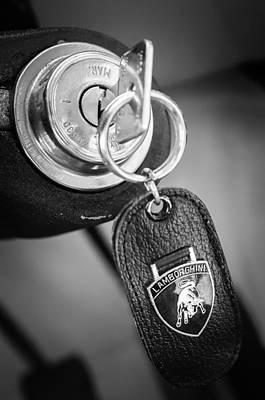 Black Ring Photograph - Lamborghini Key Ring Emblem by Jill Reger