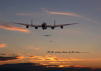 Lancaster - At The Going Down Of The Sun... Print by Pat Speirs