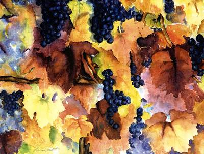 Vineyard In Napa Painting - Late Harvest 3 by Maria Hunt