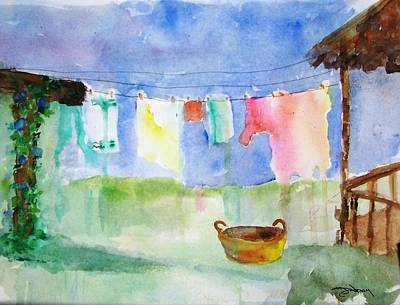 Laundry Painting - Laundry by Sandi Stonebraker