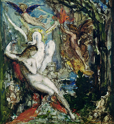 Leda Wc On Paper Print by Gustave Moreau