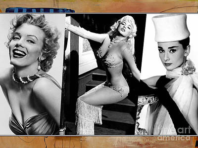 Hollywood Mixed Media - Legends Marilyn Monroe Jane Mansfield And Audrey Hepburn by Marvin Blaine
