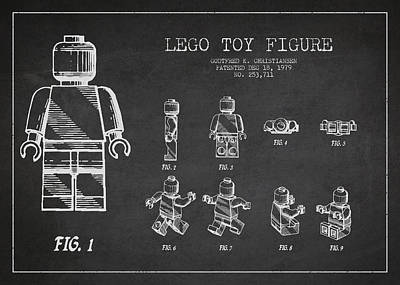 Astronauts Digital Art - Lego Toy Figure Patent Drawing by Aged Pixel