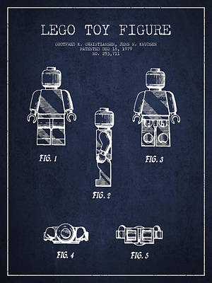 Astronauts Digital Art - Lego Toy Figure Patent - Navy Blue by Aged Pixel