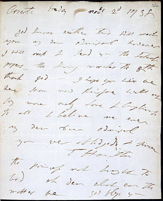 Letter Of Lady Hamilton Print by British Library