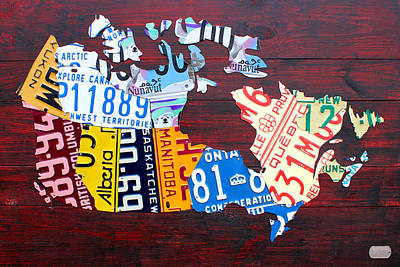 Alberta Mixed Media - License Plate Map Of Canada by Design Turnpike