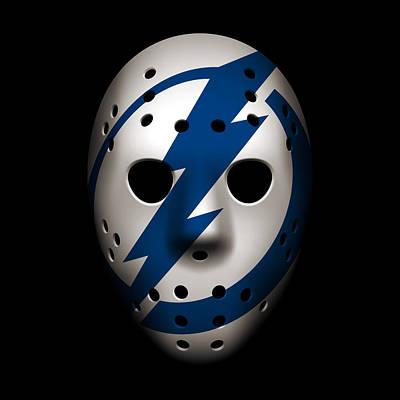 Hockey Photograph - Lightning Goalie Mask by Joe Hamilton