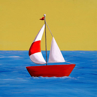 Modified Painting - Lil Sailboat by Cindy Thornton