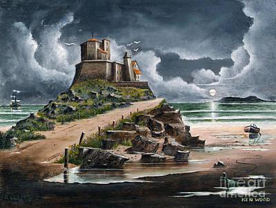 Old Man Fishing Painting - Lindisfarne by Ken Wood
