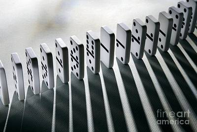 Lined Up Dominoes Print by Victor de Schwanberg