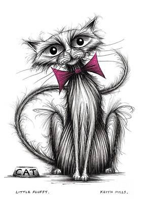 Black Tie Drawing - Little Fluffy by Keith Mills