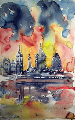London By Night Original by Kovacs Anna Brigitta