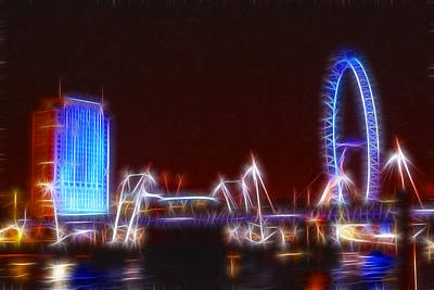 London Eye Mixed Media - Londons Eye At Night by Doc Braham