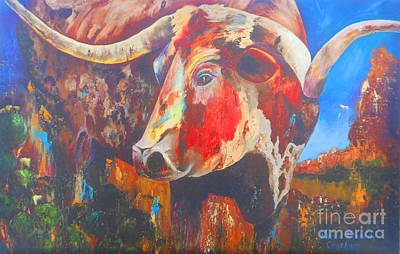 Chatham Painting - Longhorn Bull Business by Karen Kennedy Chatham