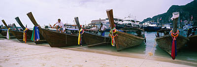 Tons Of Photograph - Longtail Boats Moored On The Beach, Ton by Panoramic Images