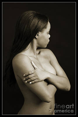 Silhouette Photograph - Looking Away African Nude 1006.02 by Kendree Miller