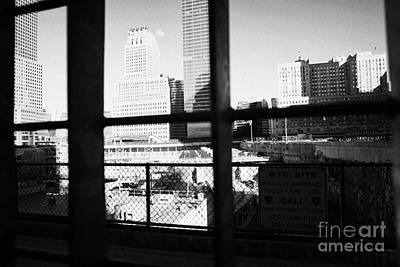 Looking Through The Metal Fence Down Onto The World Trade Center Reconstruction Site Ground Zero Print by Joe Fox