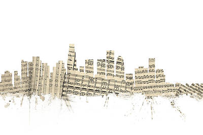 Los Angeles California Skyline Sheet Music Cityscape Print by Michael Tompsett