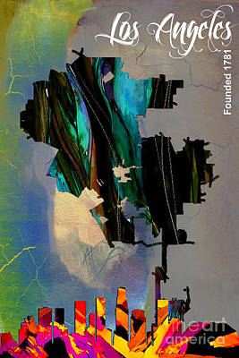 Los Angeles Skyline Mixed Media - Los Angeles Map And Skyline by Marvin Blaine