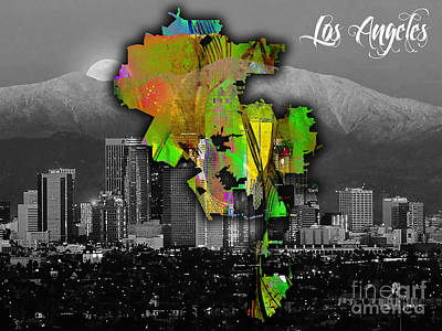 Los Angeles Map Mixed Media - Los Angeles Map And Skyline Watercolor by Marvin Blaine