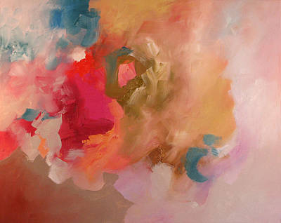 Red Abstract Painting - Lost Symphony by Linda Monfort