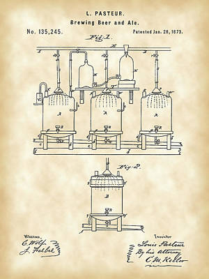 Louis Pasteur Beer Brewing Patent 1873 - Vintage Print by Stephen Younts