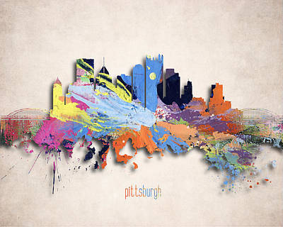 Downtown Pittsburgh Digital Art - Pittsburgh Painted City Skyline by World Art Prints And Designs