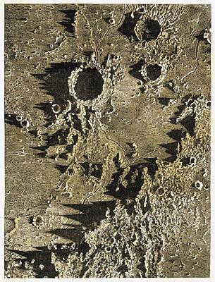 Lunar Craters, 19th Century Print by Science Photo Library