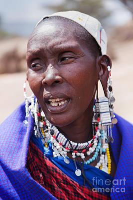 Maasai Woman Portrait In Tanzania Print by Michal Bednarek