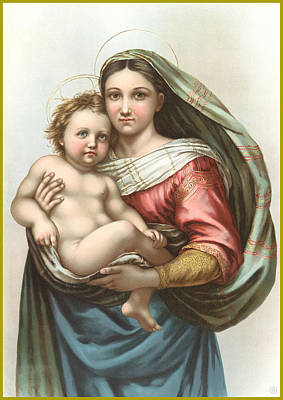 Stone Lithography Digital Art - Madonna And Child by Gary Grayson