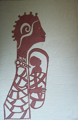 African Contemporary Ceramics Painting - Madonna And Child by Gloria Ssali