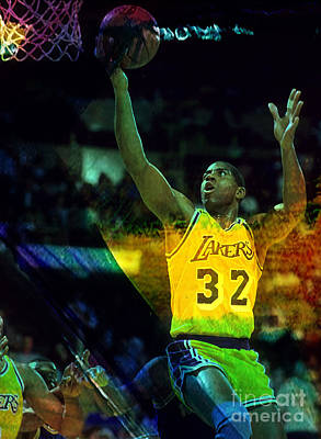 Magic Johnson Mixed Media - Magic Johnson by Marvin Blaine
