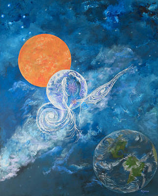 Twin Flame Painting - Making Love To The Universe - Infinitude by Judy M Watts-Rohanna