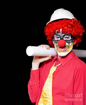 Male Architect Clown Holding Bad Construction Plan Print by Jorgo Photography - Wall Art Gallery